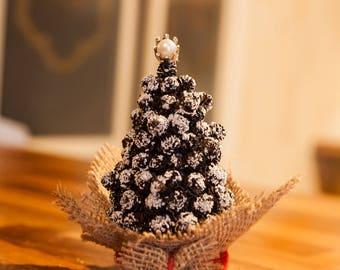 Small Pine Cones Table Christmas Tree Handmade Rustic Festive Home Christmas Decor