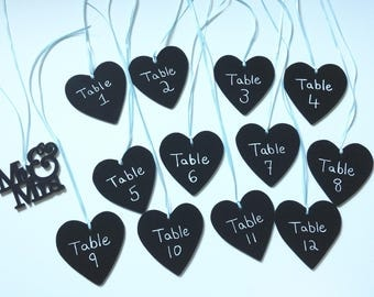 Chalkboard table numbers- heart table numbers- wedding table numbers- shower table numbers- rustic wedding- chalkboard hearts