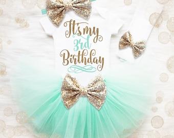 3rd Birthday Tutu Outfit | 3rd Birthday Girl Shirt | Mint And Gold Birthday Outfit | 3rd Birthday Tutu Set | Girl 3rd Birthday Tutu Set