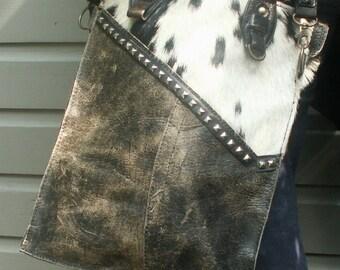 Brown city-bag cowskin/ Recycled leather bag/ Leather citybag/ Handmade leather bag/ Vintage leather bag/ Bohemian bag/ Vintage bag