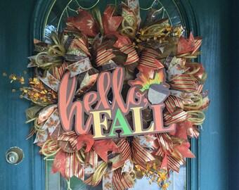 Fall Deco Mesh Wreath for Front Door