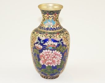Cloisonne Chinese Vase - Hand Colored Copper and Brass Floral Cabinet Gilted Vase - Elegant Cloisonne Enamel Floral Vase