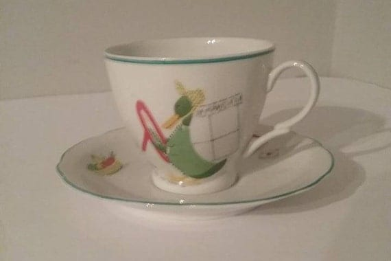 Polish Porcelain Cup and Saucer, Cmielow Children's Pattern Cup and Saucer, #MidcenturyCmielowPolland, Porcelain Cup and Saucer from Poland