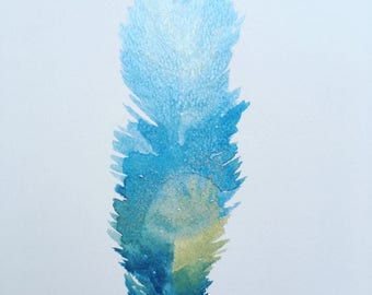 Watercolour feather on A4 Watercolour board.