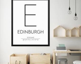 Edinburgh Scotland Print, Edinburgh Poster, Edinburgh Coordinates Printable, Edinburgh Wall Art, Edinburgh Decor, Travel Poster