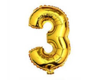 """3 Number Balloon for 3rd Birthday Party, Kid's Birthday Party, Third Birthday Party 