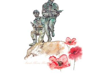 Royal Marines Commando Memorial at CTCRM with Poppies - Signed Art Print