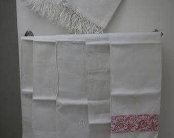 Set of 7 old towels damask