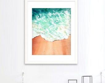 Sand beach coastal blue green water wave Original watercolour painting, costal ocean blue home decor