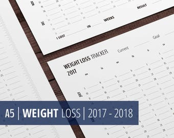 Weight Loss Tracker Calendar 2017 - 2018, A5 Printable Planner Inserts, Health, Weight Loss Chart, Printables for Filofax, Kikki k, Download