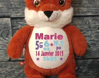 Teddy / Teddy bear birth personalised Fox stuffie. birth gift. personalized gift. baby shower