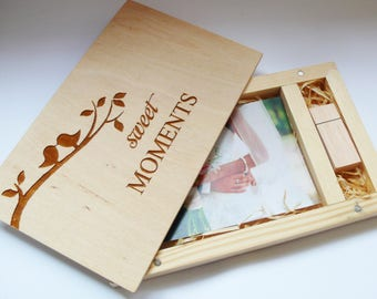 Sweet Moments Wood Photo Box 4''x6''(10x15 cm) with 8/16gb USB  Photo Box USB Box Photo Book Photographer Box Anniversary Gift For Husband
