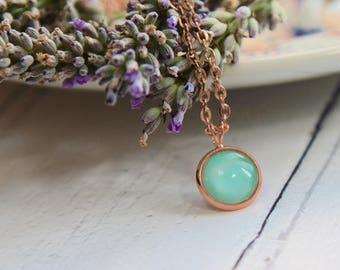 Mint Green Necklace - Rose Gold Necklace - Rose Gold Jewellery - Jewellery Set