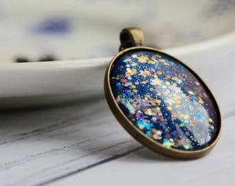 Blue Star Necklace - Handmade Necklace - Dark Gold Oval Necklace