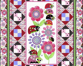 Lazy Little Lady Bugs Quilt Kit - Panel - Quilting Treasures - Little Girl Gift