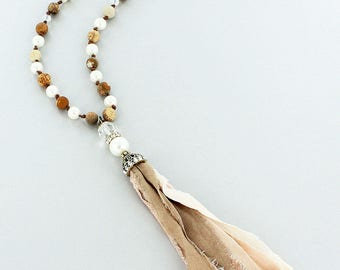 Jasper and Pearl Bead Necklace with Fabric Tassel Pendant