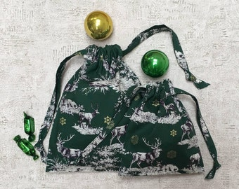 printed green smallbags Christmas - 2 sizes - reusable bags - zero waste