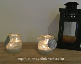 set of two candle holders - table Decoration - silver lanterns