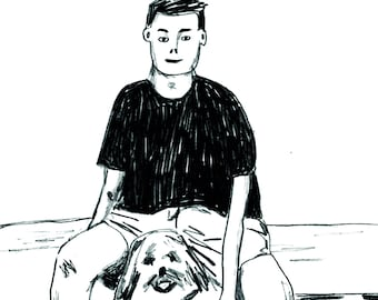 Boy With His Dog • Postcard (A6)
