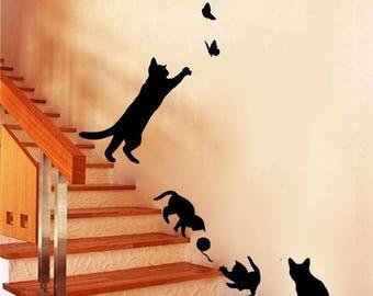 Cat Wall Stickers Etsy - Custom vinyl wall decals cats