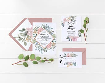 Floral Wedding Invitation Suite, the Bethany Suite, Elegant Wedding Invite, RSVP, Save the Date, Printable Invite, Rustic Wedding, Vintage