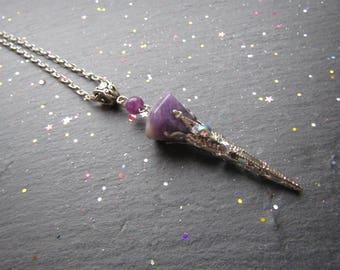Stiletto Amethyst Cone Necklace, Amethyst Necklace, Stiletto Necklace, Unique Necklace, Gemstone Jewelry, Pointy Necklace, Amethyst Pendant