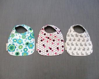 Baby Bib Set - 2 Layer Flannel - Side Plastic Snap - 100% Cotton