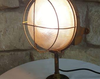 Porthole iron and glass Lamp on stand - LED bulb