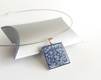 Pendant Necklace blue, square pendant necklace jewelry made in France, gift for MOM, women blue necklace, women fashion necklace