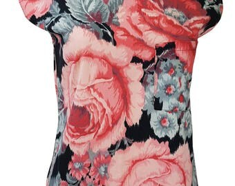 KENZO Pink Black And Grey Floral Top (M)