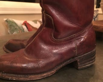 Men's Frye Boots Western Soft Leather Cowboy Work Boots Frye Original Size 8.5