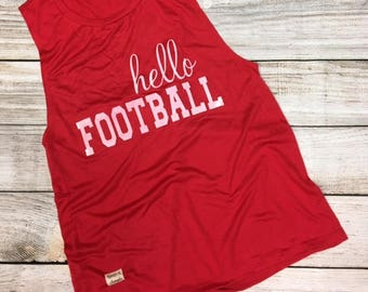 hello Football red muscle tank