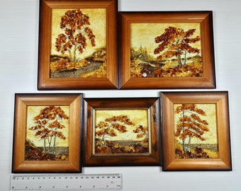 Hand Made Mosaic Baltic Amber Natural Wooden Pictures #P-024 LOT of 5pcs