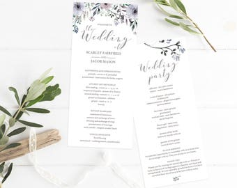 Floral Wedding Ceremony Program Template Purple Wedding Programs Instant Download Lilac Wedding Watercolor Wedding Program Downloadable PDF