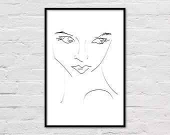 Woman Line Art Print, Female Portrait, Sketch Art, Minimalist Decor, Fashion Print, Abstract Wall Art, Girl Printable, Digital Download