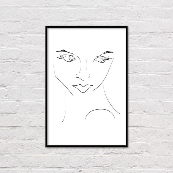 Line Art Etsy : Woman line art print female portrait sketch minimalist
