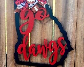 UGA Door Hanger. Georgia Football Door Hanger. Bulldogs Door Hanger. Wooden Door Hanger. Alabama Door Hanger. Football Hanger. Painted Wood