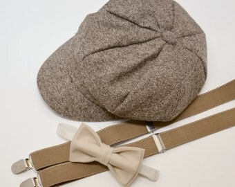Bow Tie Suspenders Newsboy Cap Hat  / Champagne Tan Bow Tie / Taupe Suspenders / Kids Baby Page Boy Outfit Set / size 2Y  - 10 Years