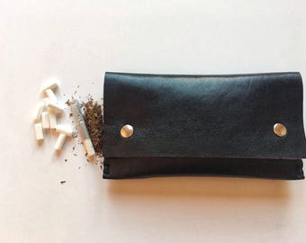 Tobacco pouch real italian leather