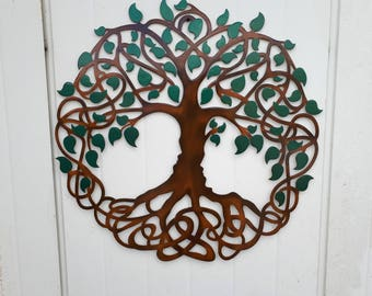 Tree Of Life, Green leaves, Hand Painted