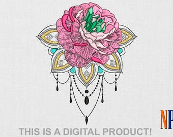 INSTANT DOWNLOAD - Rose with Mandala machine embroidery design. Flowers embroidery. Plants embroidery. Boho style. Embroidery file