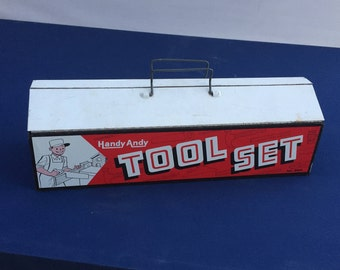 Vintage toy toolbox with tools 1960s Handy Andy Tool Set No. 680