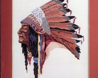 Indian Chief, Cross Stitch Kit, Native American, DIY, Chief of 5 Nations, Bernat, Gift for Her, Do It Yourself, Home Decor, Helen Burgess