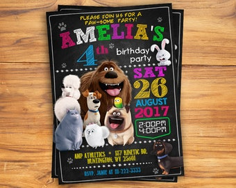 Secret Life of Pets Invitation, Secret Life of Pets Invite, Secret Life of Pets Birthday Party, Gidget Invitation, Gidget Invite, Blackboard