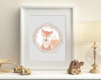 Nursery woodland printable fox wall art, baby room art, fox wall decor, kids room fox art , woodland playroom decor, Instant Download