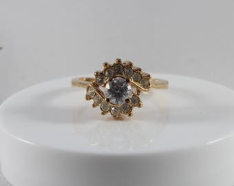 Gold Tone White Cz Cluster Ring Size 8.75
