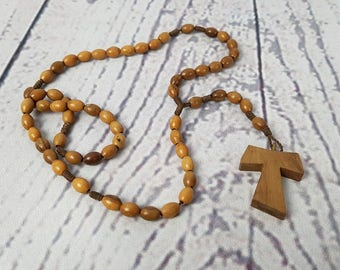 Vintage Rosary Wood Beads Virgin Mary Jesus Crucifix Cross Antique First communion Prayer Confirmation Wedding