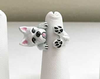 West Highland White Terrier Ring/Westie ring/Dog ring/Dog wrap ring/Adjustable ring/Ring for dog lover/Enamel ring/Brass ring/Ring jewelry