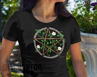 Pagan clothing, Pentacle shirt, pagan shirt, earth element, original artwork, pentacle t-shirt, wiccan clothing, wiccan shirt, wiccan gifts