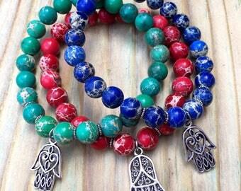 Blue, Green, Red Sea Sediment Jasper + Silver Hamsa Charm || Stackable Beaded Bracelet || Best Friends || Women's Yoga Bracelet ||